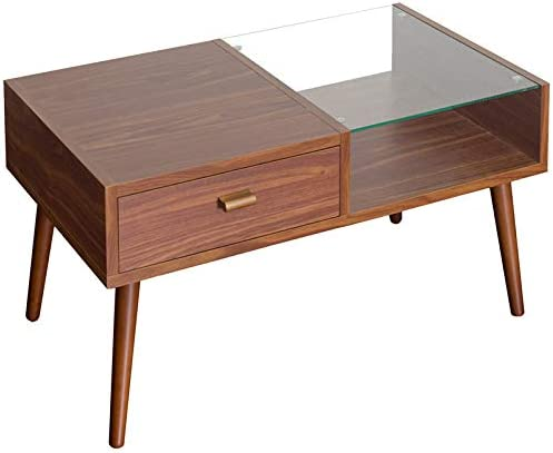 Amazon Co Jp Attractive Half Half Center Table Glass Top Board 80 Drawers Low Table Glass Cheap Stylish Sofa Table Wooden Scandinavian Storage Small Table With Drawers Center Table Compact Light Brown Home