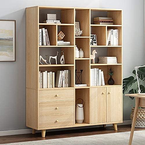 Amazon Co Jp Closet Organizer Wooden Tall Bookshelf Display Storage Unit Living Room Office Furniture Corner Shelves Color Beige Size 120x30x175cm Home Kitchen