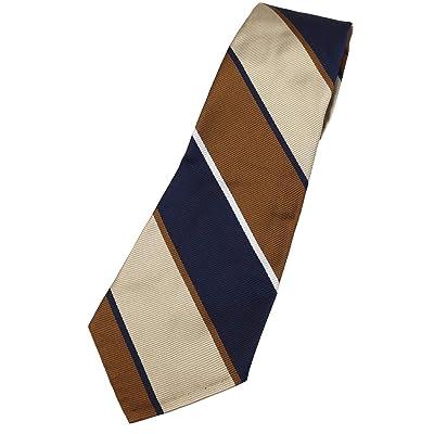 Silk Stripe Tie: Navy / Brown / Beige / Pearl White