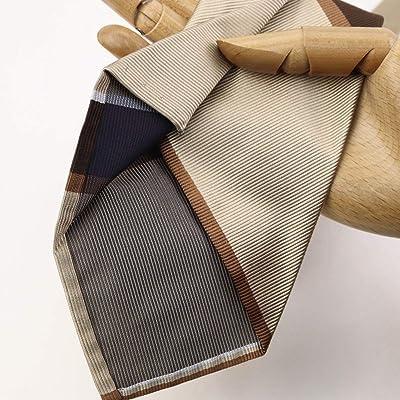 Silk Stripe Tie: Beige / Brown / Pearl White