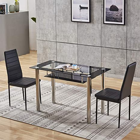Glass Dining Table Black Chairs Off 71, Sarah Extending Glass Dining Table With 6 Romeo Chairs